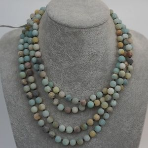 "Jewelry - Mexico Genuine Stone Ombre Bead 80"" Long Necklace"
